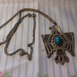 Vtg Silver Tone Thunderbird Pendant Necklace 1970s